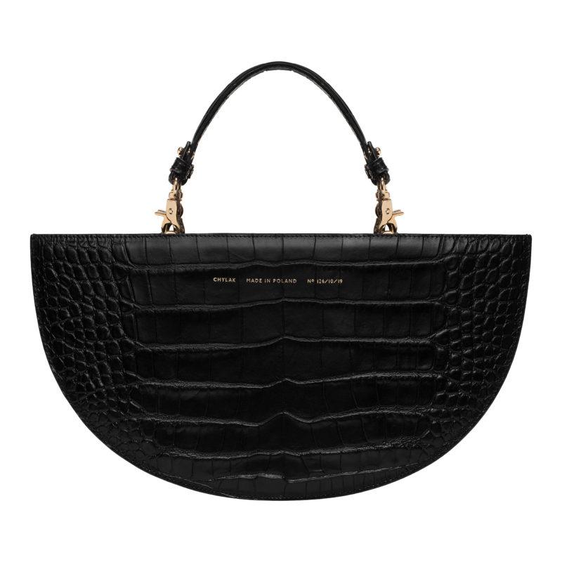"Half Moon Bag ""glossy black crocodile"""
