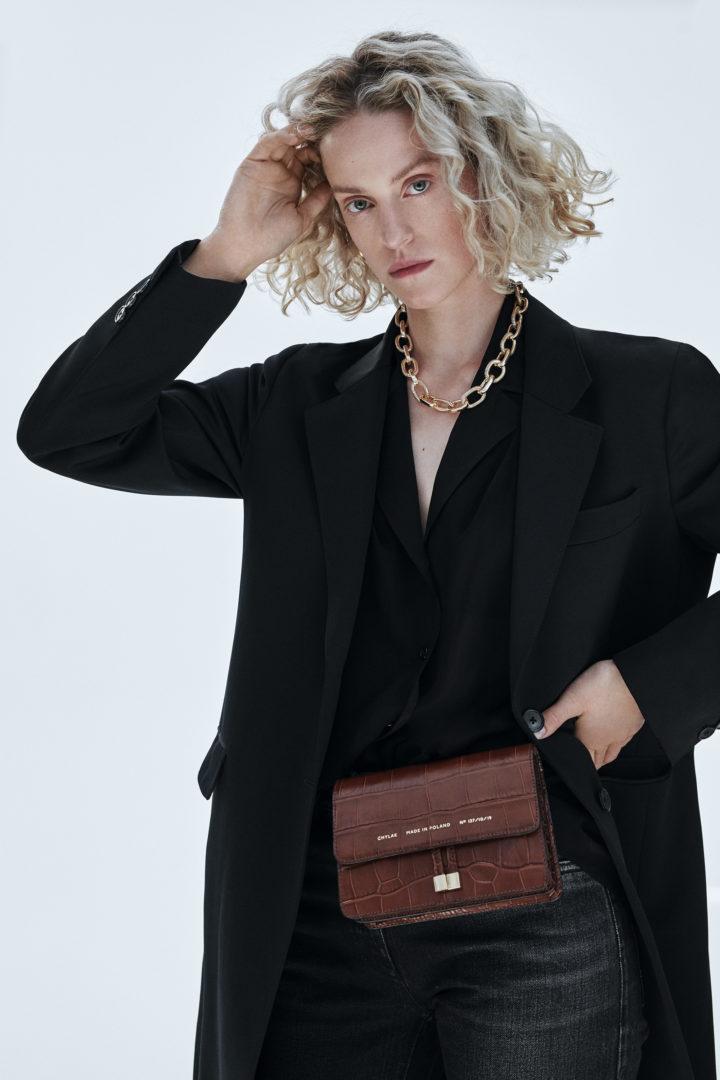 "Mini Belt Bag ""glossy caramel crocodile"""