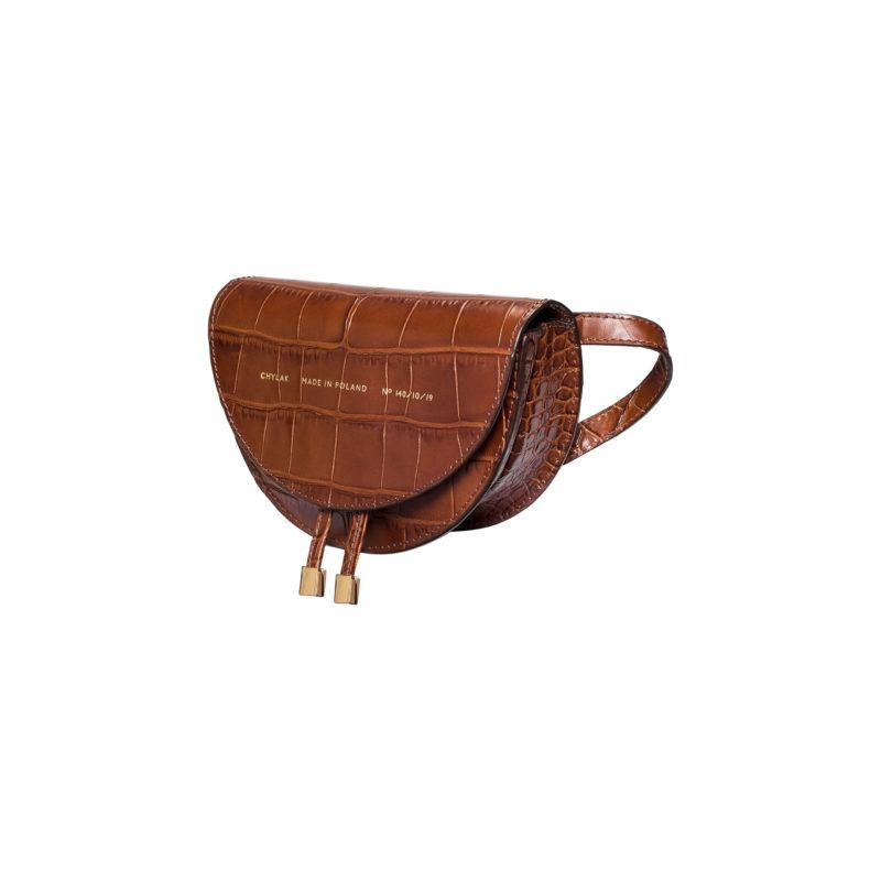 "Mini Saddle Bag ""glossy caramel crocodile"""