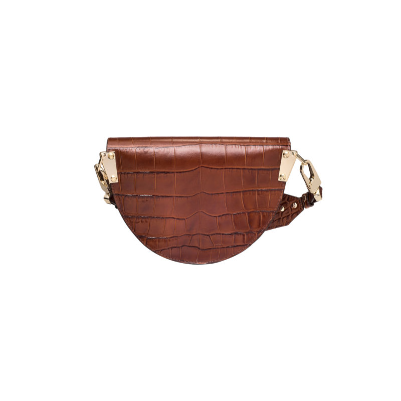 "Saddle Bag ""glossy caramel crocodile"""