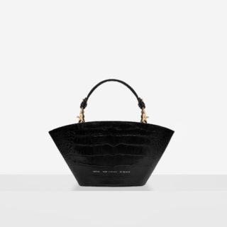 "Small Basket Bag ""glossy black crocodile"""