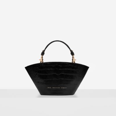 "Small Basket Bag ""glossy black crocodile"""
