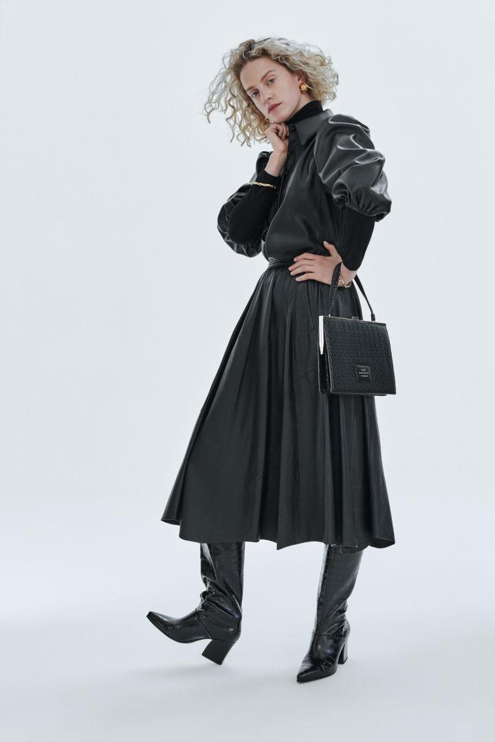 """Vintage"" clasp bag ""black woven leather"""