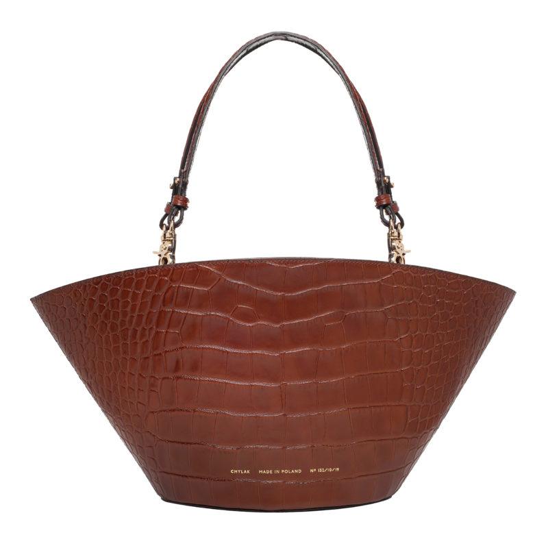 "Big Basket Bag ""glossy caramel crocodile"""