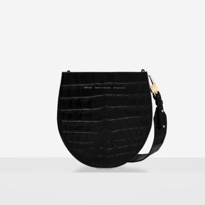 "Horseshoe Bag ""glossy black crocodile"""