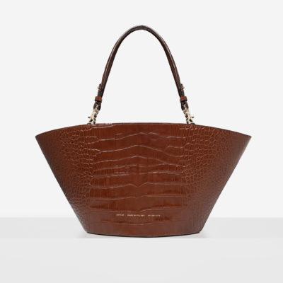 "Maxi Basket Bag ""glossy caramel crocodile"""