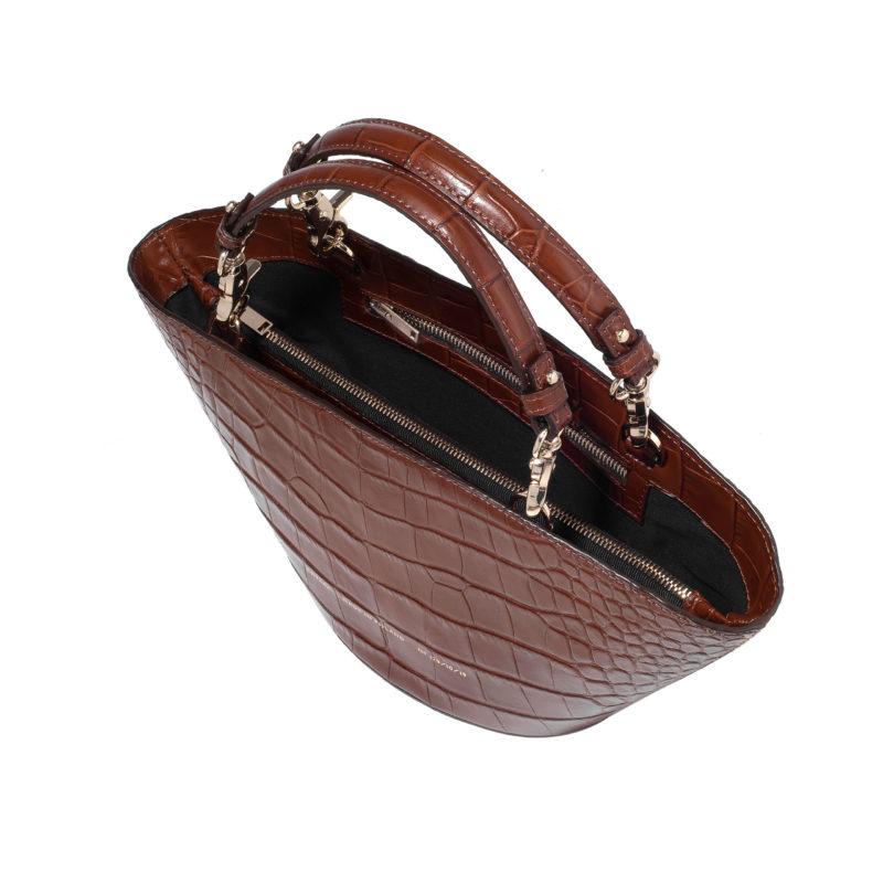 "Small Basket Bag ""glossy caramel crocodile"""