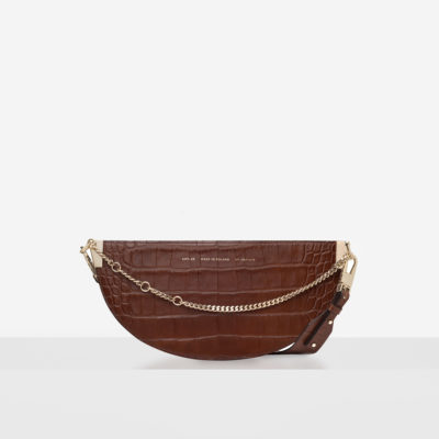 "Wide Saddle Bag ""glossy caramel crocodile"""